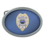 Thin Blue Line Badge Oval Belt Buckle