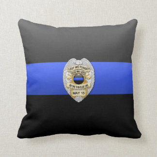 Thin Blue Line Badge Throw Pillow