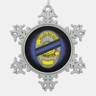 Thin Blue Line Badge Snowflake Pewter Christmas Ornament