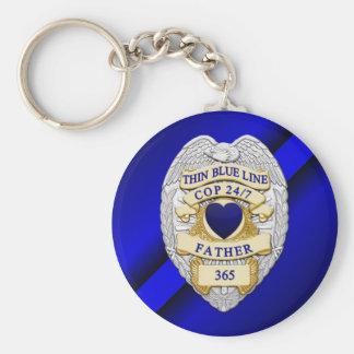 Thin Blue Line Basic Round Button Keychain