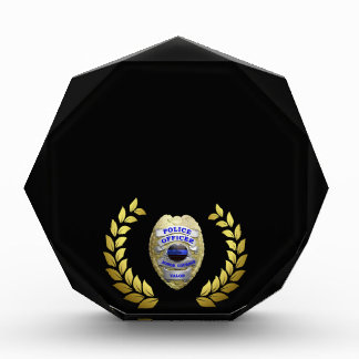 Thin Blue Line Beautiful Gold Laurels Badge Award