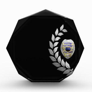Thin Blue Line Beautiful Silver Laurel Badge Acrylic Award