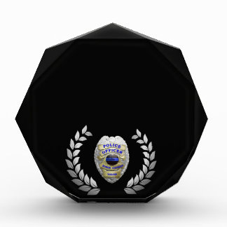 Thin Blue Line Beautiful Silver Laurels Badge Acrylic Award