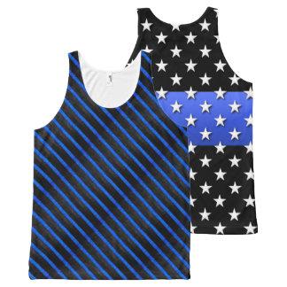 Thin Blue Line Big Stars and Stripes Flag All-Over-Print Tank Top