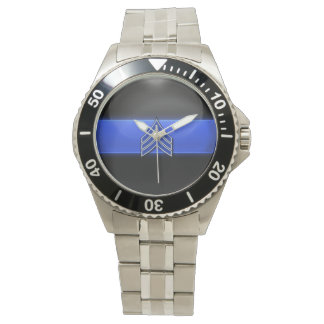 Thin Blue Line - Blue/White Sergeant Stripes Wrist Watch