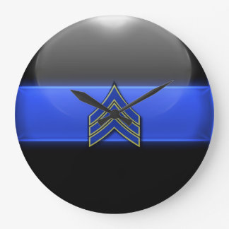 Thin Blue Line - Blue/Yellow Sergeant Stripes Large Clock