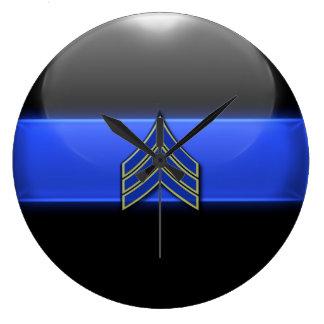 Thin Blue Line - Blue/Yellow Sergeant Stripes Wall Clock