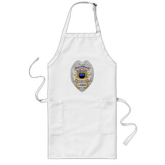 Thin Blue Line Button and Badge Long Apron