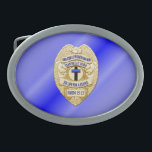"""Thin Blue Line Button Belt Buckle<br><div class=""""desc"""">This design is intended to honor the courageous men and women who protect our communities. This police,  sheriff and law enforcement symbol is beautiful graphic tribute to those who serve and those who have made the ultimate sacrifice.</div>"""