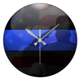 Thin Blue Line Campaign Hat Flag Salute Large Clock