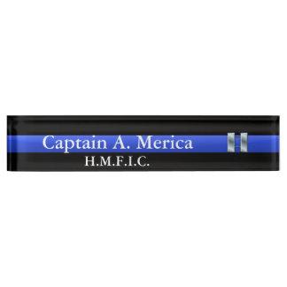 Thin Blue Line - Captain Bars Rank Nameplate