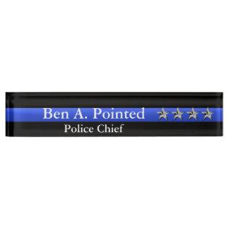 Thin Blue Line - Chief Four Stars Rank Name Plate