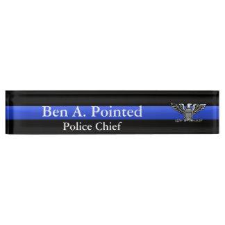 Thin Blue Line - Chief Full Bird Eagle Rank Desk Name Plate