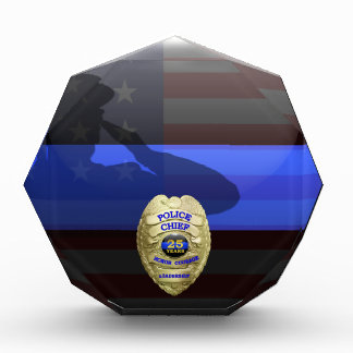 Thin Blue Line - Chief Gold 25 yr Retirement Badge Acrylic Award