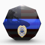 """Thin Blue Line Chief of Police Stars Award Plaque<br><div class=""""desc"""">Customize this beautiful gift with your own text to suit the circumstances. This original Police 5 Yr Award Plaque badge artwork was designed specifically for law enforcement officers. It makes a wonderful gift for all of the usual gift occasions but also in acknowledgement of personal achievement, recognition, promotion or retirement....</div>"""