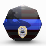 Thin Blue Line Chief of Police Stars Award Plaque<br><div class='desc'>Customize this beautiful gift with your own text to suit the circumstances. This original Police 5 Yr Award Plaque badge artwork was designed specifically for law enforcement officers. It makes a wonderful gift for all of the usual gift occasions but also in acknowledgement of personal achievement, recognition, promotion or retirement....</div>