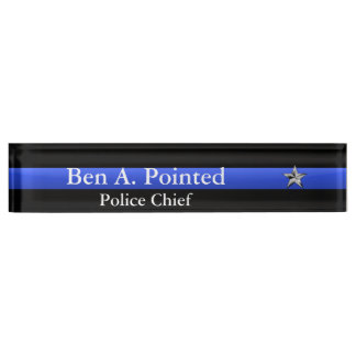 Thin Blue Line - Chief Star Rank Nameplate