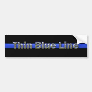 Thin Blue Line Chrome Text Bumper Sticker