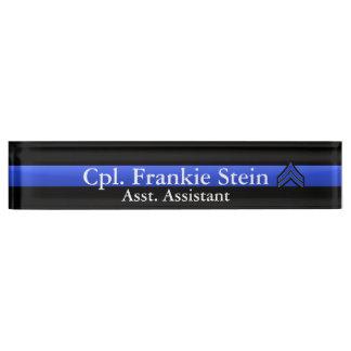 Thin Blue Line - Corporal Stripes Rank Name Plate