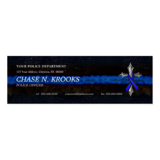 Thin Blue Line Cross and Police Officer Ribbon Double-Sided Mini Business Cards (Pack Of 20)