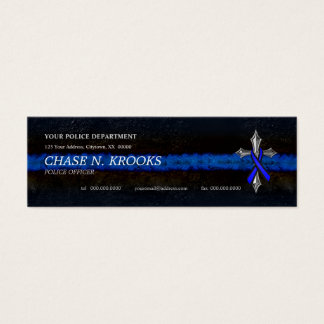 Thin Blue Line Cross and Police Officer Ribbon Mini Business Card
