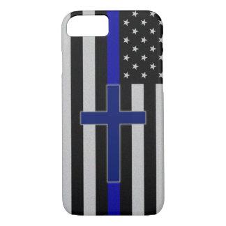Thin Blue Line Cross - Blue Cross iPhone 7 Case