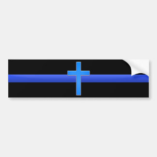 Thin Blue Line & Cross Bumper Sticker