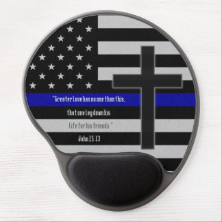 Thin Blue Line Cross Gel Mouse Pad