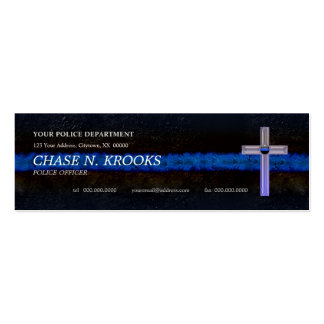 Thin Blue Line Cross Police Officer Double-Sided Mini Business Cards (Pack Of 20)