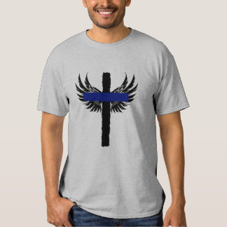 Thin Blue Line Cross With Wings Ephesians 6:10-11 T-shirt