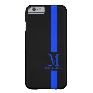 Thin Blue Line Custom Monogram Barely There iPhone 6 Case