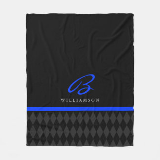Thin Blue Line Custom Monogram Black Argyle Fleece Blanket