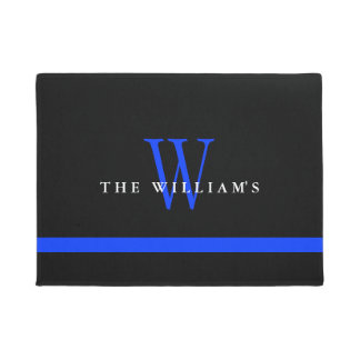 Thin Blue Line Custom Monogram Doormat