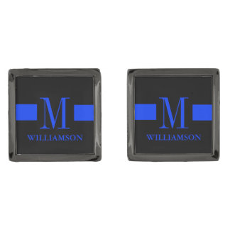 Thin Blue Line Custom Monogram Gunmetal Finish Cufflinks