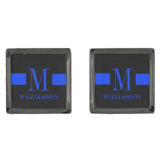 Thin Blue Line Custom Monogram Gunmetal Finish Cufflinks