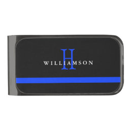 Thin Blue Line Custom Monogram Gunmetal Finish Money Clip