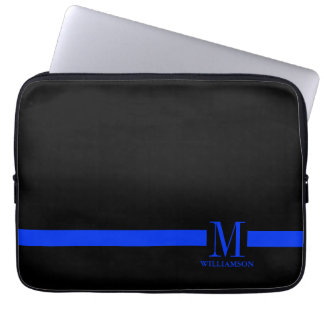 Thin Blue Line Custom Monogram Laptop Sleeve