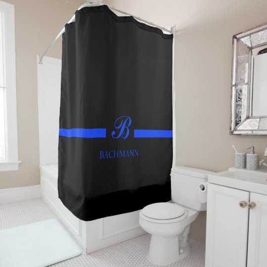 thin blue line custom monogram shower curtain
