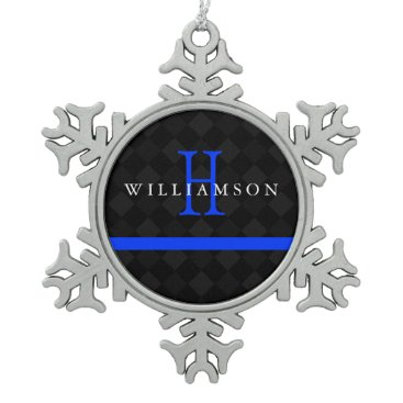 Christmas Themed Thin Blue Line Custom Monogram Snowflake Pewter Christmas Ornament