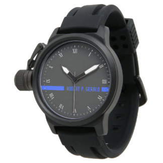 Thin Blue Line Custom Name Stripe Wrist Watch