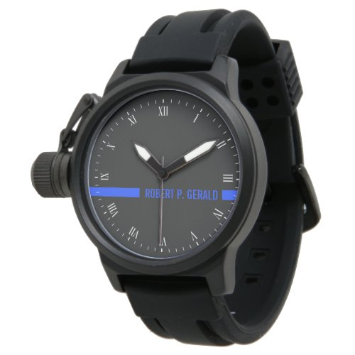Thin Blue Line Custom Name Stripe Wrist Watch