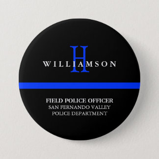 Thin Blue Line Custom Personal Title Pinback Button