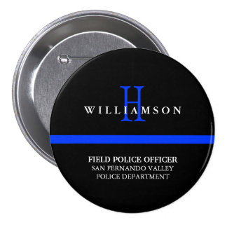 Thin Blue Line Custom Personal Title Pinback Button