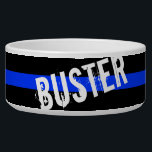"Thin Blue Line Custom Pet Name Bowl<br><div class=""desc"">A Thin Blue Line custom name pet bowl.</div>"