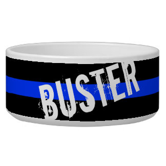 Thin Blue Line Custom Pet Name Bowl