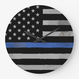 Thin Blue Line - Distressed Tattered Flag Large Clock