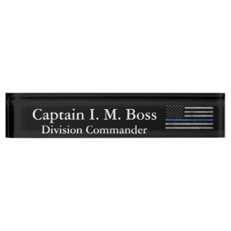 Thin Blue Line - Distressed Tattered Flag Nameplate