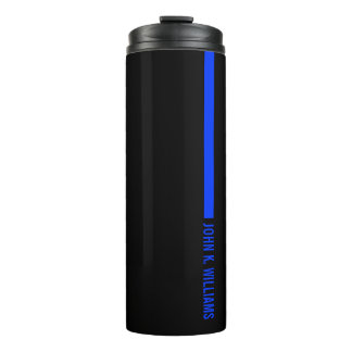 Thin Blue Line Ending With a Custom Name Thermal Tumbler