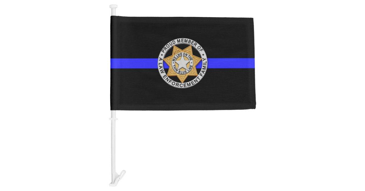 Thin Blue Line Family Badge Car Flag Zazzle Com