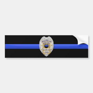 Thin Blue Line Flag & Badge Car Bumper Sticker
